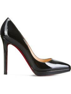 81c524e815b0 Image is loading Christian-Louboutin-Pigalle-Plato-120-Patent-Black-Heels-