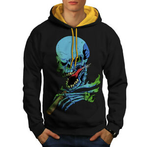Rock oro Felpa cappuccio Men Black Skeleton Skull cappuccio con New Rasta 7vwOqvRI
