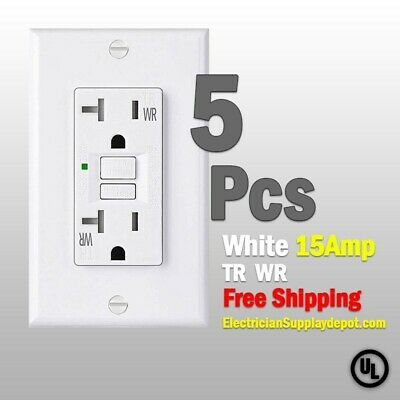 15 AMP GFCI Receptacle Outlet Tamper Resistant WHITE UL Listed GFI 12Pack
