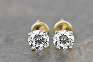 14k-Yellow-Gold-Women-2Ct-Round-Brilliant-Cut-Moissanite-Diamond-Earrings-Stud