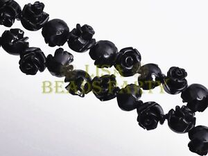 30pcs-8mm-Flower-Rose-Synthetic-Coral-Loose-Spacer-Bead-Findings-Black