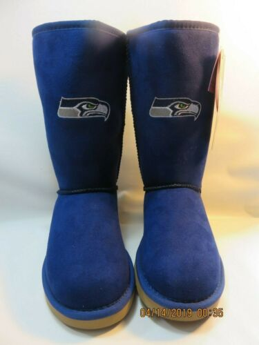 SEATTLE SEAHAWKS Blue//Green Faux Suede Boots Girl/'s Size 3Y Med NEW WITH TAGS