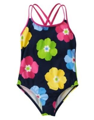 GYMBOREE SHOWERS OF FLOWERS NAVY w/ FLOWERS 1-PC SWIMSUIT 3 4 5 6 7 8 9 12