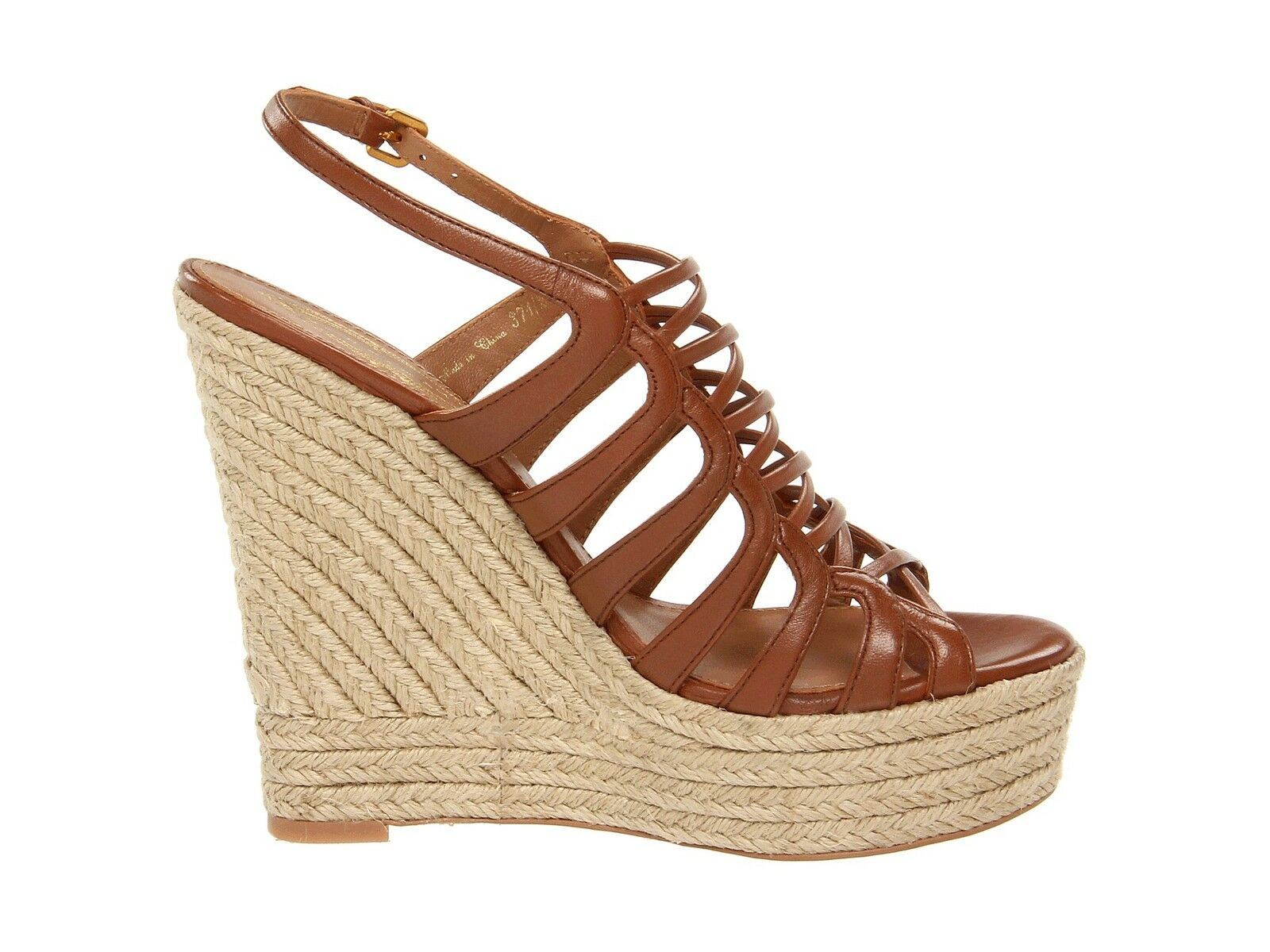 278 Elie Tahari  Weaver Espadrille  Braun Woven Slide Wedge Sandale  Schuhe 39.5-9