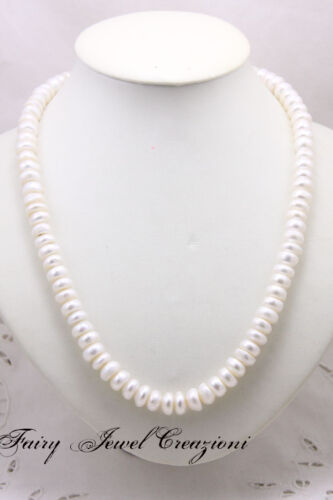 COLLANA Perle Bianche Cipolline da 9 mm Lunga 50 cm Argento 925 Pearls Neklace