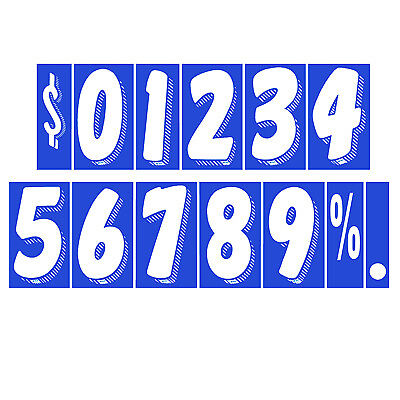 "White Numbers Car Dealer Windshield Pricing Stickers 7 1//2/"" Blue You Pick"