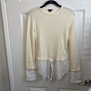 Theory-Womens-Thermal-Layered-Shirt-Beige-White-Long-Sleeve-100-Cotton-S-New