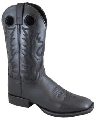 627562fa666 Smoky Mountain Men's All Outlaw Black Leather Square Toe Western Cowboy  Boots | eBay