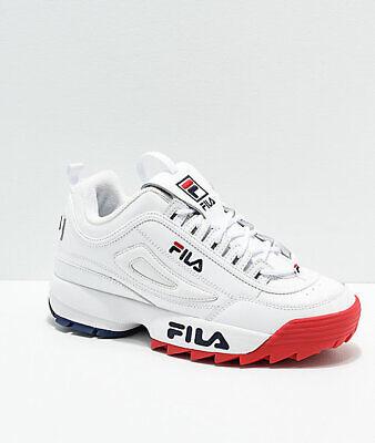 Dettagli su Donna Fila Disruptor II Premium Bianco Rosso Scarpe Blu Nuovo 2