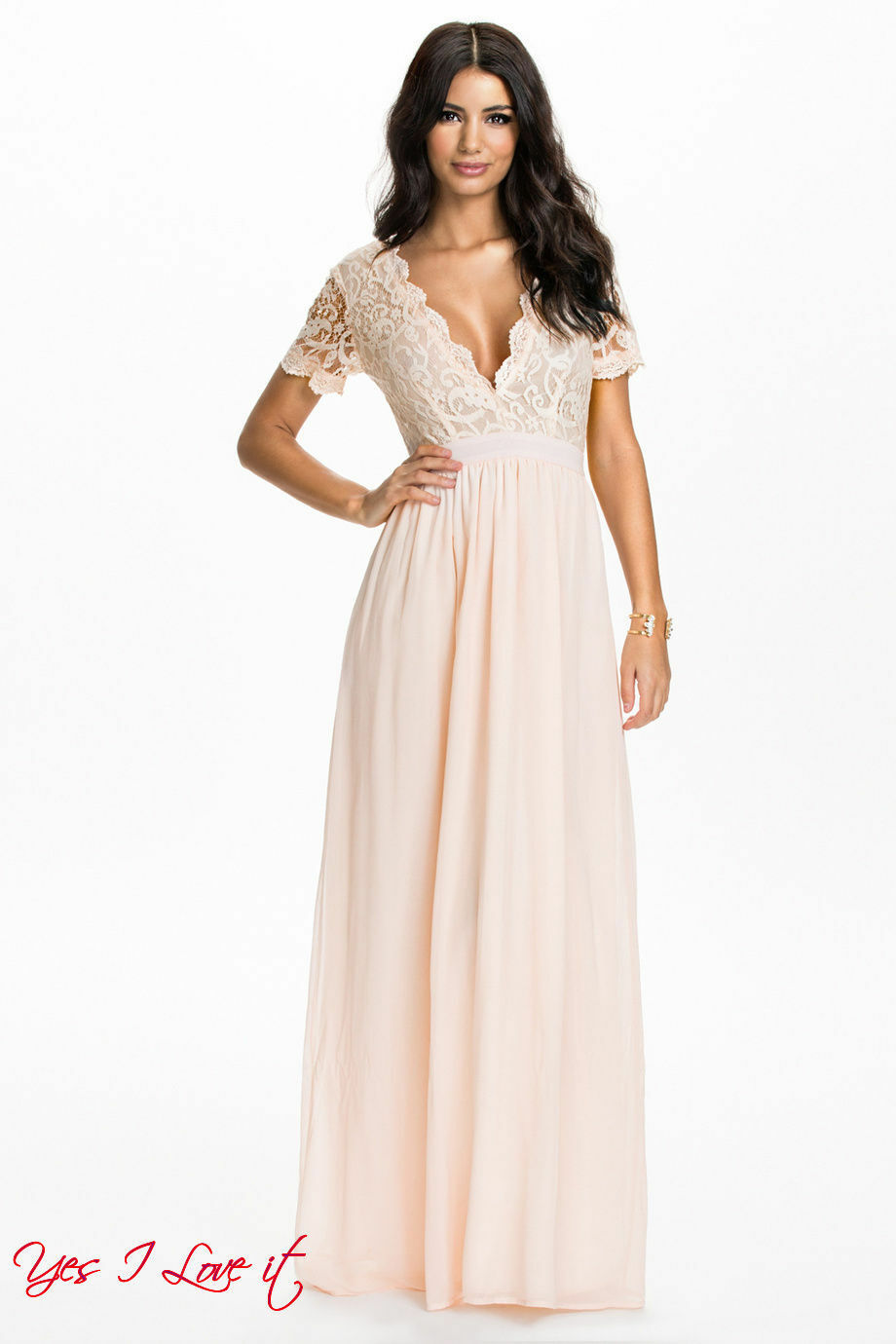 b31480c4a567be Club L Scalloped Lace Maxi Party Cocktail Dress Light Peach UK10 EU38  Evening nwaokh8859-neue Kleidung