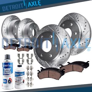 Ceramic Pads Chevy Escalade Silverado Yukon Front+Rear Drill Slot Brake Rotors