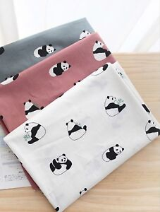 Cute-panda-100-Cotton-Fabric-BY-YARD-Animal-bear-grey-white-Quilting-JC5-45
