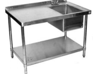 24x84 All Stainless Steel Kitchen Table with Prep Sink on Right eBay