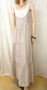 JACQUI-E-Beige-100-Cotton-Maxi-Dress-Sz-8