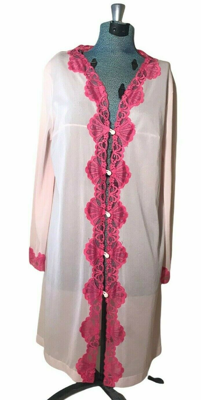 Vintage Emilio PUCCI for Formfit Rogers Womens Robe Pink on Pink Lace Trim MED