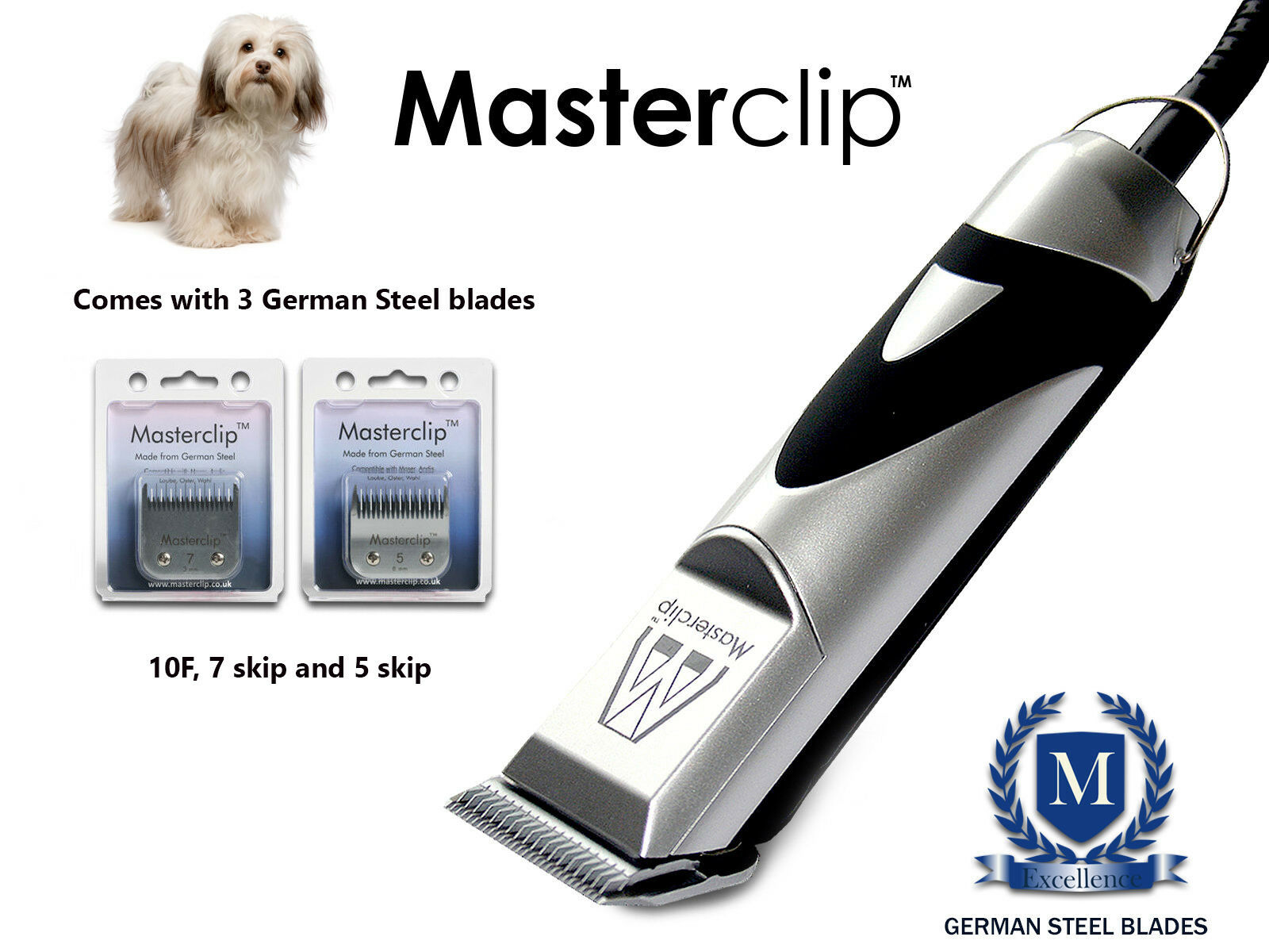 Havanese Dog Clippers Trimmer Set with 3 Blades by Masterclip Professional