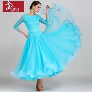 Trempé 2018 New Ballroom Competition Dance Dress Modern Waltz Standard Dress #1855 Une Grande VariéTé De ModèLes