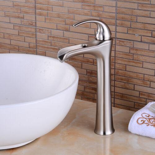 "12/"" Brushed Nickel Bathroom Sink Faucets Waterfall One Hole//Handle Vessel Taps"