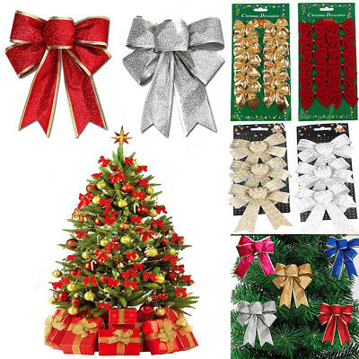 6pcs Christmas Tree Bow Decoration Baubles Xmas Party Garden Bows Ornament QK