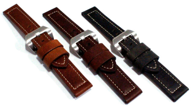 Smooth Grained Oil Tanned Leather Watch Strap, Contrast stitching. 20, 22, 24mm