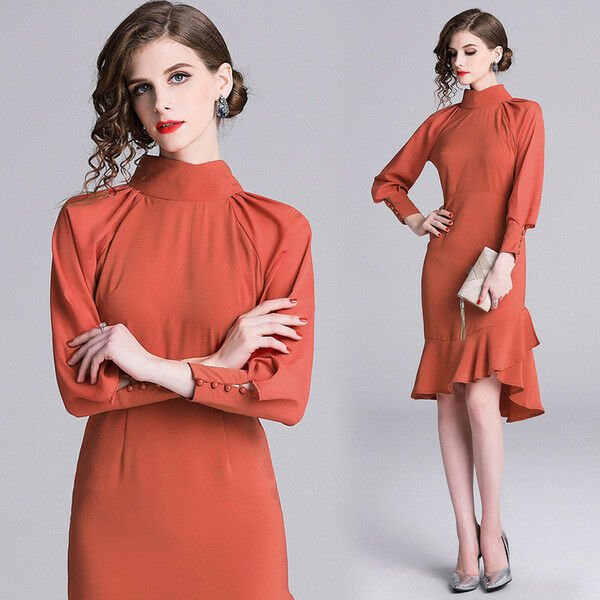 Elegante vestito abito tubino sera trasparente cobalto corto slim morbido 4863