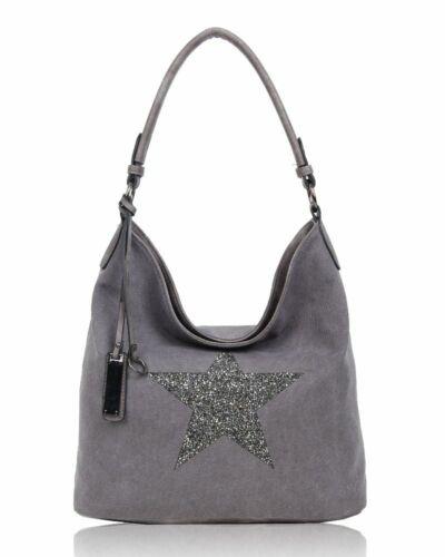 Ladies Casual Tote Bag With Sparkling Star Women Canvas Large Shoulder Handbag