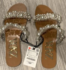 BNWT Zara Pearl Sandals Size 3 / 36 | eBay