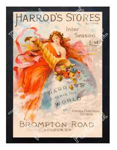 Historic-Harrod-039-s-Stores-Brompton-Road-London-Advertising-Postcard
