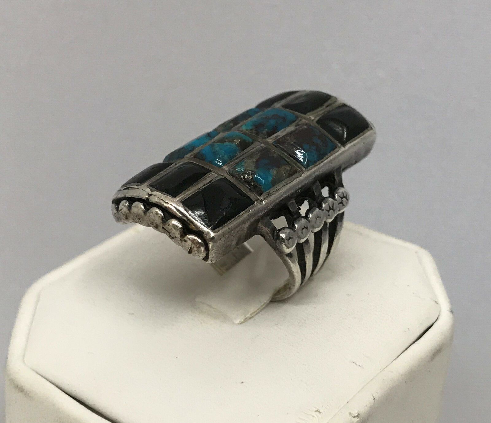 VINTAGE STERLING TURQUOISE ONYX RING TILES OF STONES VERY LONG AND WIDE 7 3 4 8