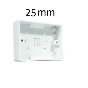 White 2 Gang Twin Double Switched Wall Socket 25mm Surface Pattress Back Box