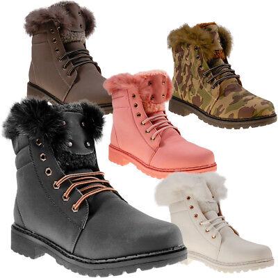 10423 Gefütterte Damen Stiefel Ankle Boots Booties Schnürschuhe Stiefelette