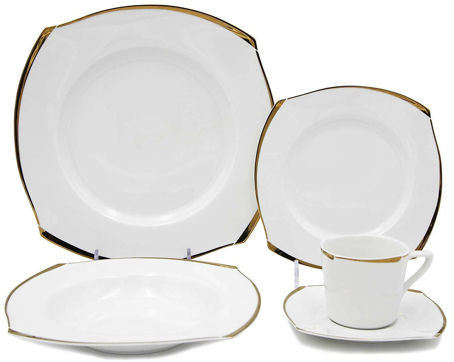 Royalty Porcelain Fancy Square Design 20-pc Dinnerware Set 'Golden Wave'