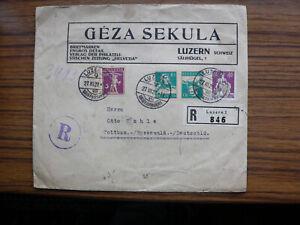 Schweiz R-Brief, Luzern vom 27.III.1929 mit mehreren Zusammendrucken #P8-90 - Ochtersum, Deutschland - Schweiz R-Brief, Luzern vom 27.III.1929 mit mehreren Zusammendrucken #P8-90 - Ochtersum, Deutschland