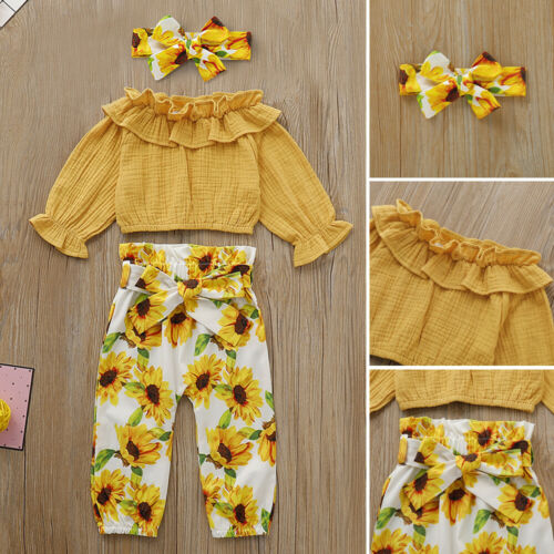 US Toddler Baby Girl Ruffle Tops Sunflower Pants Headband Outfits Autumn Clothes