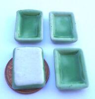 1;12 Scale 4 Oblong Plates Dolls House Miniature Ceramic Kitchen Accessory G7