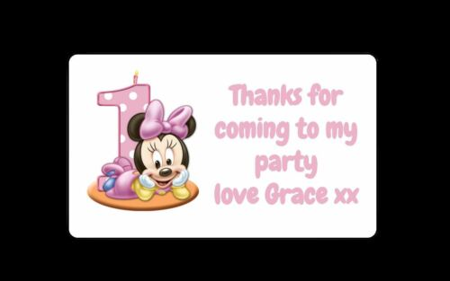 42 Personalised Minnie Mouse 1st Birthday Party Stickers Thank You Sweet Cones