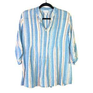 Soft-Surroundings-Womens-Top-Sz-S-Striped-Roll-Tab-Sleeve-Top-Aqua-White