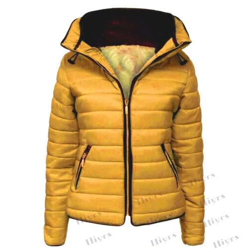 New Ladies Quilted Padded Puffer Bubble Fur Collar Warm Thick Womens Jacket Coat