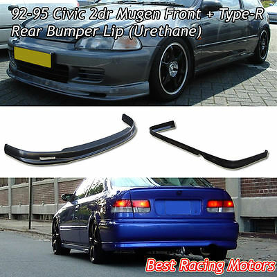 Mu-gen Style Front + TR Style Rear Bumper Lip (Urethane) Fit 92-95 Civic 2dr