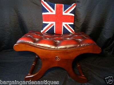 Vintage Chesterfield Style Luxury Leather Oxblood Red Saddle Mahogany Footstool