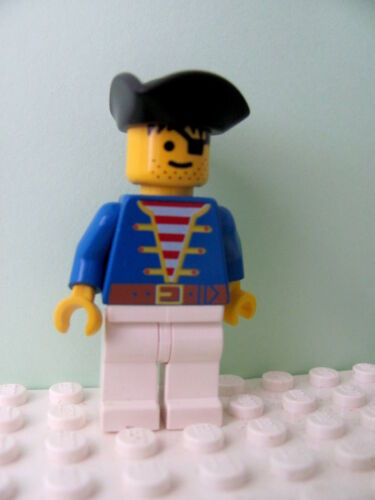 Pirate Triangle Hat 6286 LEGO Minifig pi006 @@ Pirate Blue Jacket White Legs