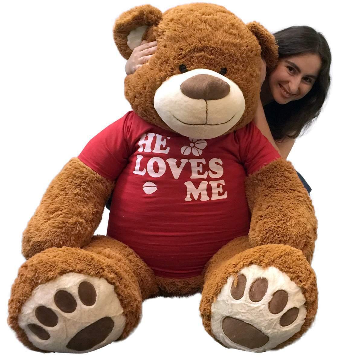 5 Ft Giant Teddy Bear 60 Inch Soft Cinnamon marrone Color Wears HE LOVES ME Tshirt