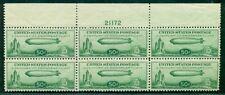 US #C18 50¢ Zeppelin, Plate No. Block of 6, og, NH, VF, Scott $700.00