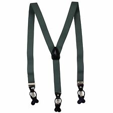 New in box Men's Suspender charcoal Gray Braces elastic clips buttons