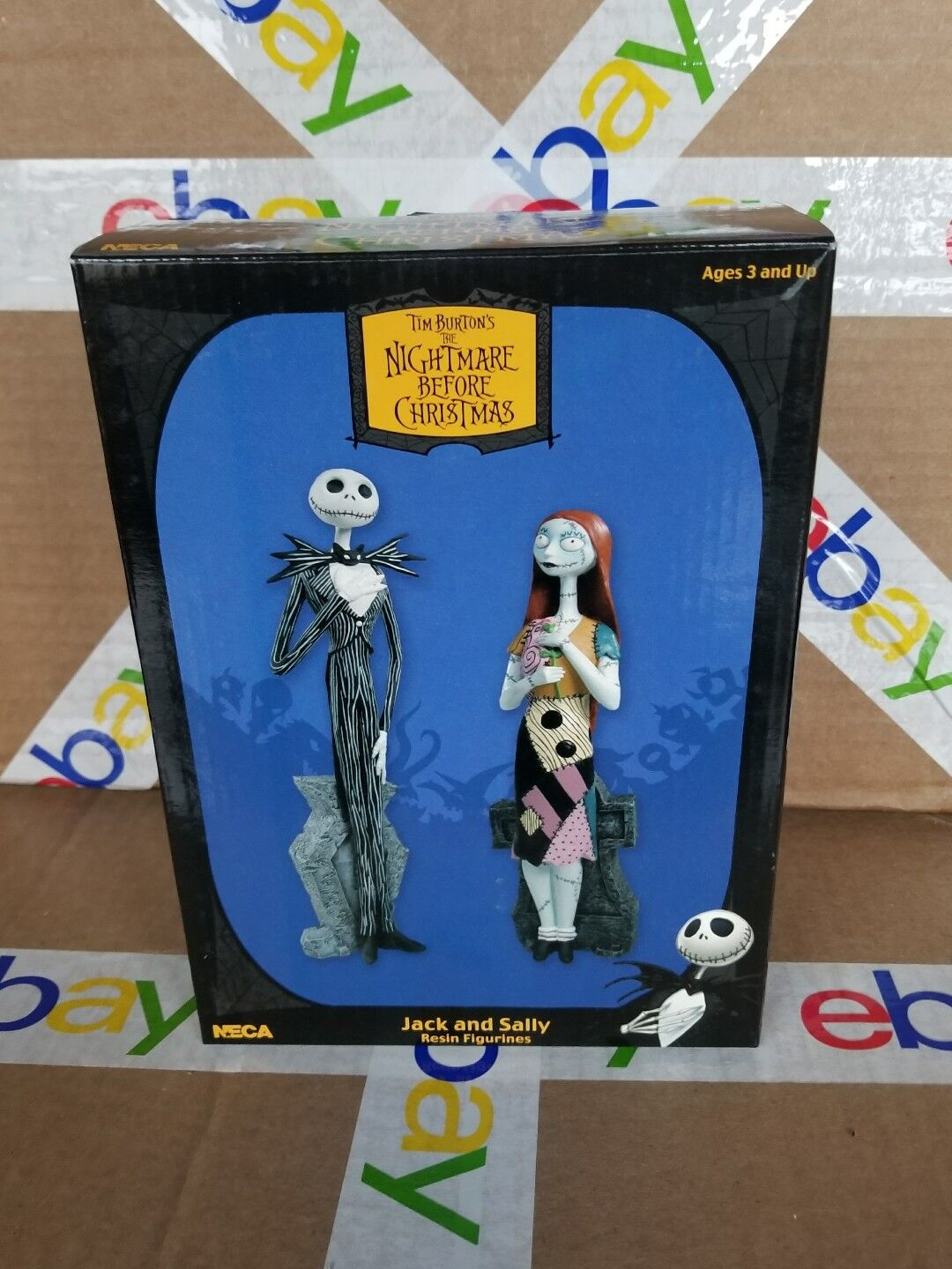 NECA Nightmare Before Christmas Jack & Sally Resin Figurines Pair 2004 Mib NOS