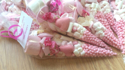 pink  pre-filled sweet cones party bags favours personalised christening wedding