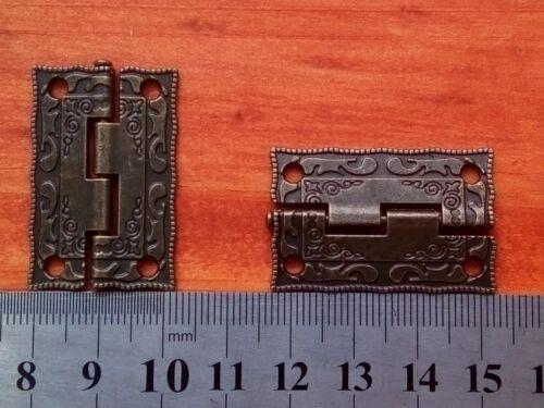 Pair  Mini Vintage Antique Brass Hinges Door Hinge Wooden Furniture Jewelry Box