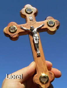 7 Wall Wood Cross Crucifix /& Colorful Natural Gemstones Blessed in Jerusalem Holy Land