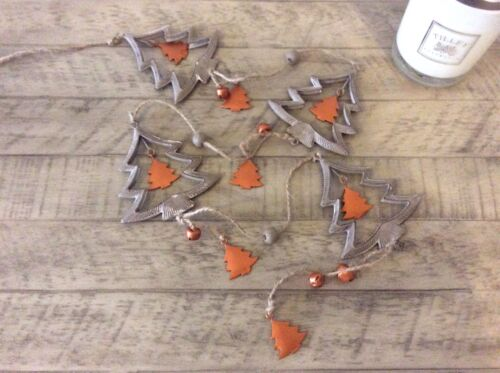 Christmas Garland Antique Silver Copper Stars Tree Rustic Rope Bells Decoration