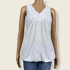 Chico's V-neck Eyelash Frayed Fringe Sequined Tank Top Shirt 1 MEDIUM 8 10 White